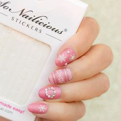 Pink and white Christmas Nail Art. Plus, How-To! - SoNailicious