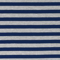 Navy Blue Heather Gray Half Inch Stripe Cotton Jersey Blend Knit Fabric - Classic navy blue and heather gray stripes on cotton jersey poly rayon blend knit.  Fabric is soft with a nice drape and stretch, light to mid weight.  Stripes measure 1/2. :: $6.00