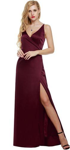 ANGVNS Women Strap Sleeveless Split Side Evening Dress Long Evening Gown