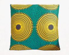 Green & Yellow Circle Abstract African Print Cushion Throw Pillow Cover 16x16 or 18x18 inches
