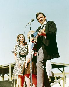 Johnny & June on location for The Johnny Cash Show at Cummins Prison Farm, 1969
