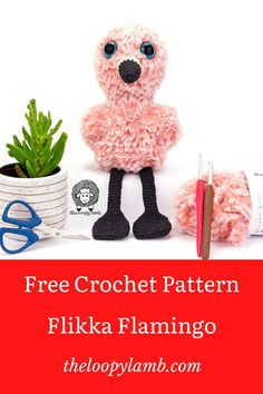 Check out my free crochet flamingo pattern to make Flikka Flamingo! Flikka is an adorable baby flamingo that just begs to be cuddled and works up quickly with super bulky faux fur yarn. #amigurumiflamingo #flamingocrochetpattern #freeamigurumipattern #amigurumicrochetpattern #flamingotoys