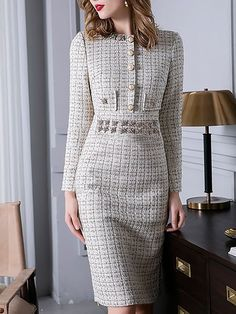 88602d8143e2 Checkered plaid Stand Collar A-Line Beaded Midi Dress lulagal Vestiti Da  Giorno