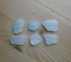 Genuine sea glass,6 pieces, white beach glass, bottle neck, collectible , jewelry supplies SG47 di lepropostedimari su Etsy