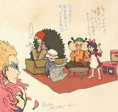 Corazon, Law, Doflamingo, Baby 5, Buffalo, young, childhood, funny, food, cute, text; One Piece