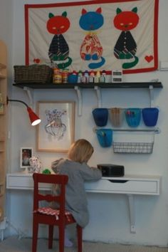 Colorful Play Room for Olivia Wall mounted desk from Ikea shelf unit - great for computer in living room!Wall mounted desk from Ikea shelf unit - great for computer in living room! Table And Bench Set, Kid Table, Table Desk, Ekby Ikea, Ikea Shelf Unit, Girl Desk, Child Desk, Kids Corner, Craft Corner