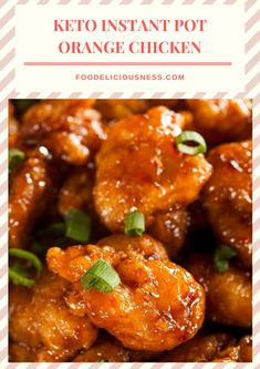 Keto Instant Pot Orange Chicken is a sweet and flavorful dish. This low carb orange chicken is made in instant pot, and with a delicious sauce. Also, it is easy to prep, for just 30 mins. Orange Chicken Sauce, Orange Chicken Crock Pot, Easy Sauce For Chicken, Baked Orange Chicken, Healthy Chicken Recipes, Low Carb Recipes, Crockpot Recipes, Low Carb Keto, Meat Appetizers