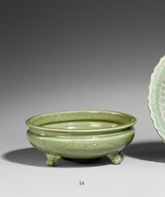 A Longquan celadon tripod incense burner. Ming dynasty (1368–1644)