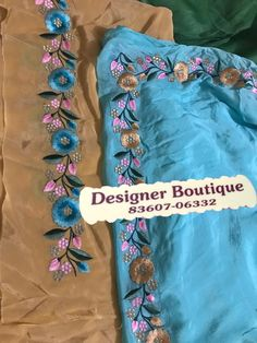 Embroidery Suits Punjabi, Hand Embroidery Videos, Hand Embroidery Flowers, Embroidery On Clothes, Hand Work Embroidery, Beaded Embroidery, Border Embroidery Designs, Embroidery Suits Design, Machine Embroidery Designs