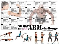 Arm challenge. Just need a set of dumb bells to complete at home.