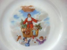 Old Christmas Transportation Santa Claus Child's Plate from antiquefreak on Ruby Lane
