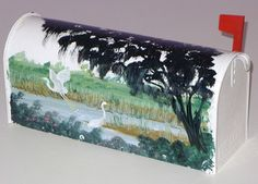hand painted mailboxes | Hand Painted Mailbox w South Carolina Wetlands Bird Landscape | eBay