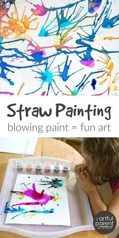 Blow Painting with Straws Super Fun, Super Simple Art Idea for Kids! is part of crafts For Kids - Blow painting with straws is simple yet lots of fun for kids of all ages Use a straw to blow liquid paint around on paper, creating interesting designs