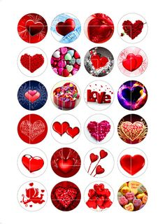 Hearts 1 inch 1.5 inch 16mm Bottle Cap Images by MobyCatGraphics