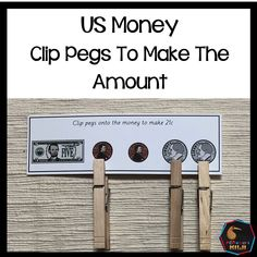 Using pegs students select the correct money to make the amount. 32 question cards 8 pages This is also part of my 250 page US Money Bundle Montessori Elementary, Upper Elementary, Math Stations, Math Centers, Homework Area, Fluency Practice, Math Task Cards, Counting Activities, Montessori Materials