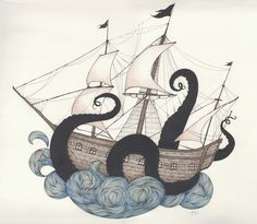 A perfect way to combine my need for both a ship and an octopus tattoo. I love this