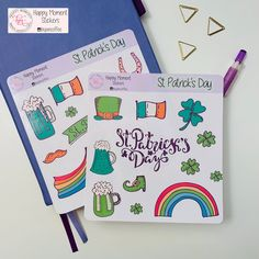 Excited to share this item from my shop: St Patrick's Day stickers Calendar Stickers, Journal Stickers, Printable Stickers, Planner Stickers, Bullet Journal Monthly Calendar, Journal Pages, Sticker Paper, Some Fun, St Patricks Day