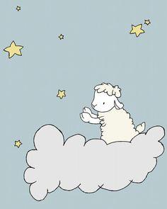 Lamb Nursery Art -- Nursery Decor -- Lamb Art Print, Baby Lamb On A Cloud -- Sheep Nursery Art, Children Art Print, Kids Wall Art