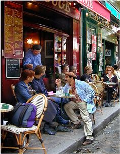 The Parisian pastime of people watching is best at sidewalk cafes. by Barbara Eggermann Beautiful Paris, Beautiful Streets, I Love Paris, Café Theatre, Cafe Concert, Italian Cafe, Sidewalk Cafe, Parisian Cafe, Outdoor Cafe