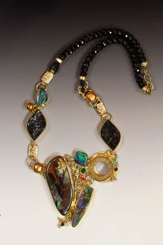 "Boulder Opal Jewelry-""My Wild Child""  This piece I had a video made of it's creation... what a blast that was!  by Jennifer Kalled; boulder opal from Bill Kasso."