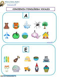 COMUNICATE Conciencia fonologica vocales - Ficha interactiva Worksheets, How To Plan, Baby, Live, Interactive Notebooks, Newborn Babies, Infant, Baby Baby, Doll