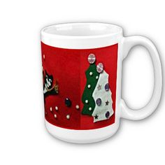 """15 oz """"large"""" mug with black and white tuxedo cat on red felt background, flanked by green and white felt Christmas trees. This design is available on all of Zazzle's mug options. $17.95"""