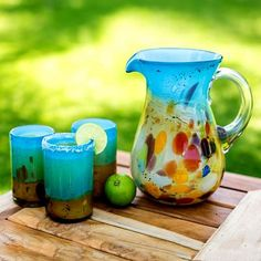 Turquoise and Amber Blown Glass Tumblers (Set of 6) - Amber Riviera   NOVICA