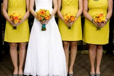 All brides think of having the ideal wedding day, however for this they require the best wedding dress, with the bridesmaid's dresses enhancing the brides dress. These are a few ideas on wedding dresses. Celebrity Wedding Dresses, Sexy Wedding Dresses, Wedding Gowns, Wedding Bells, Bride Dresses, Wedding Bouquets, Wedding Ceremony, Prom Dresses, Yellow Bridesmaid Dresses