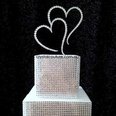 Double Heart Cake Topper embellished with #Swarovski, perfect for #Wedding and #Engagement #Cakes