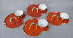 Noritake Parrot Theme Snack Sets - Set of Four - offered by the Antique Beak at Ruby Lane.