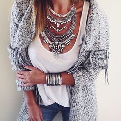 Glamorous Over The Top Statement Necklace #ootd #glam #outfit #girltrend…