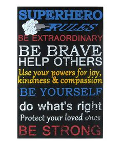 Loving this 'Superhero Rules' Wall Sign on #zulily! #zulilyfinds