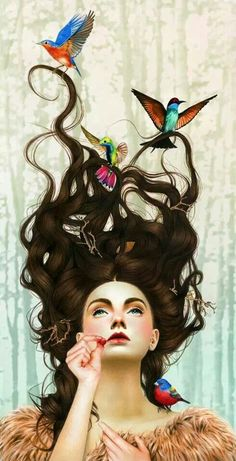 Made by: Morgan Davidson  - (Birds holding strings of hair)