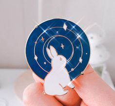 Galaxy bunny gold enamel pin with backing.Dimensions: inch / 40 mm Hard Enamel Pin Gold Plating, 2 Knobs Backing** Shipping Policy **I offer next day shipping for weekday orders. Jacket Pins, Cool Pins, Pin And Patches, Hard Enamel Pin, Kawaii, Stickers, Pin Badges, Lapel Pins, Pin Collection