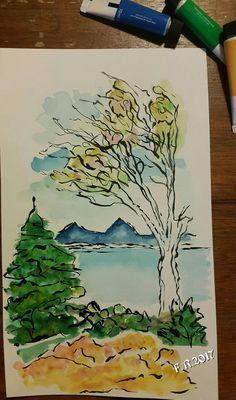 Watercolor by Francesca Rocchi trees water nature cornwal acquerello Landscape