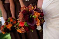 Warm and Earthy Fall Wedding Bouquets- great color for bridesmaid dresses