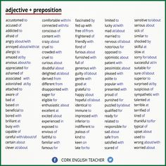 Adjectives and their prepositions cr: The Writer's Circle English Writing Skills, English Lessons, English Words, English Grammar, Teaching English, Learn English, English Language, Better English, English Tips