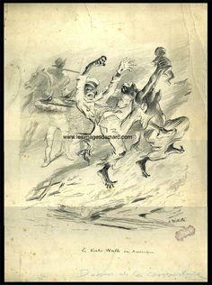 Dessin original d'Adolphe Willette, ayant servi pour la couverture du numéro 206 (11 mars 1905) de l'Assiette au beurre, consacré à une critique acerbe des violences faites aux Noirs, notamment aux Etats Unis. www.lesimagesdemarc.com