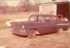 1957 Chevy shortly after purchase, prepping for paint.  It has an LT1 350, 580 lift cam, Hooker headers, Holley 850 DP, Muncie 4 speed and 12-bolt rearend.  I paid $750 for it with the rearend pinion gear broken.  Had old-style slotted American Racing wheels which were stolen two weeks after purchase