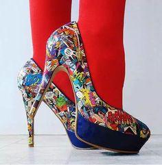 decoupage super hero comic book shoes. Geek Chic <3