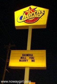 Classy Marriage Proposal Fail - Church's Chicken - Shineka Will You Marry Me?: I think the guy that did this gets extra points for creativity but the church's c Wedding Proposals, Marriage Proposals, Wedding Humor, Wedding Stuff, Bad Marriage, Marriage Humor, Funny Signs, Funny Memes, The Originals