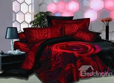 Popular Bright Red Rose 3D Printed 4-Piece Cotton Duvet Cover Sets