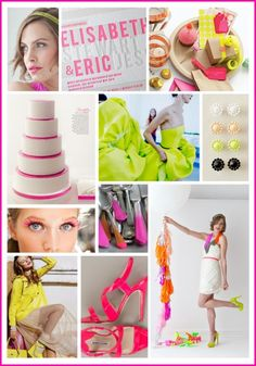 Neons were everywhere on the spring runways! Brighten up a summer wedding with an energizing palette of lime green, bright yellow, vibrant orange, and hot magenta pink