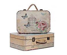 Set de 2 maletas mariposas de madera