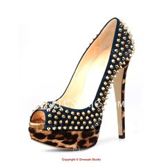 Spectacular Metallic Rivets Stiletto Pumps with Leopard-print Patterns