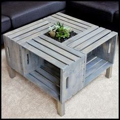 Crate Coffee Table- think would like better as patio table