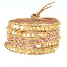 Mixed natural shell beads with selected pink glass beads Wrap leather Bracelet handmade Leather chain fashion jewelry Beaded Bracelet Patterns, Beaded Wrap Bracelets, Leather Bracelets, Bangles, Leather Chain, Brown Leather, Natural Leather, Christmas Earrings, Bead Weaving