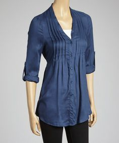 Take a look at this Blue Button-Up Top by Simply Irresistible on #zulily today!