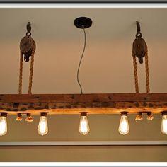 — Reclaimed wood light fixture