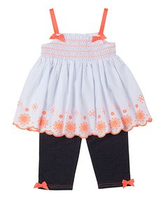 This Orange Floral Smocked Tunic & Leggings - Infant & Toddler by Little Lass is perfect! #zulilyfinds